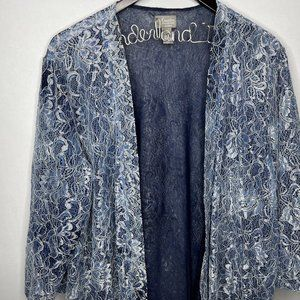 Chicos Blue Lace Open Cardigan